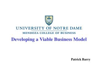 Developing a Viable Business Model