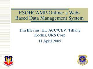 ESOHCAMP-Online: a Web-Based Data Management System