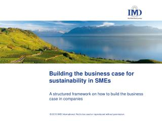 Building the business case for sustainability in SMEs