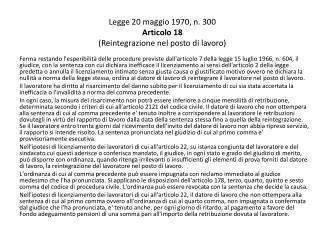 Legge 20 maggio 1970, n. 300 Articolo 18 (Reintegrazione nel posto di lavoro)