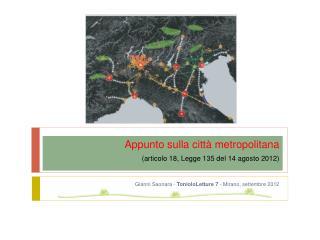 Appunto sulla città metropolitana    (articolo 18, Legge 135 del 14 agosto 2012)