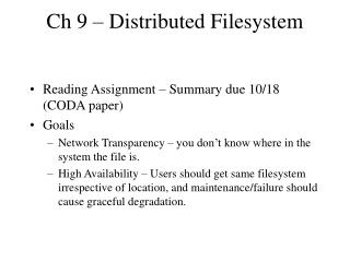 Ch 9 – Distributed Filesystem