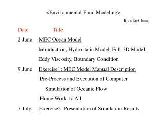 <Environmental Fluid Modeling> Rho-Taek Jung Date                  Title