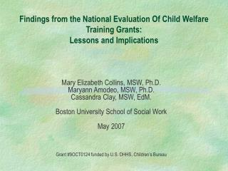 Findings from the National Evaluation Of Child Welfare Training Grants: Lessons and Implications