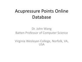 Acupressure Points Online Database