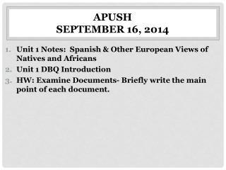 APUSH September  16, 2014