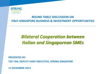 Bilateral Cooperation between  Italian and Singaporean SMEs