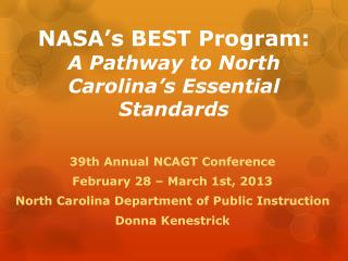 NASA's BEST Program: A Pathway to North Carolina's Essential Standards