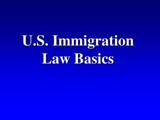 U.S. Immigration Law Basics