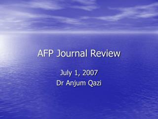 AFP Journal Review