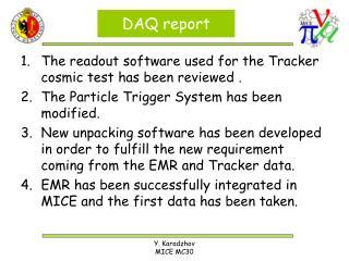 DAQ report