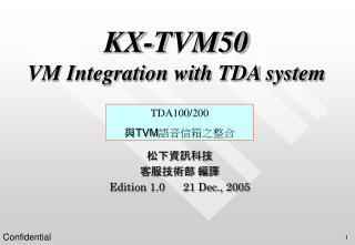 KX-TVM50 VM Integration with TDA system