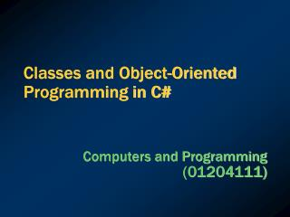 Classes and Object-Oriented Programming in C