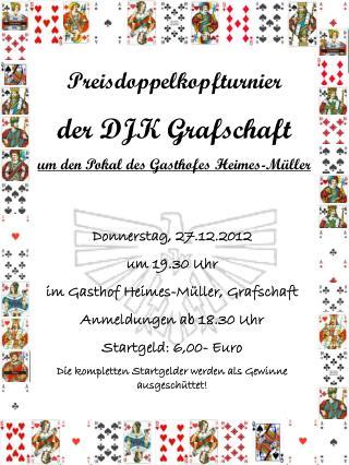 Preisdoppelkopfturnier der DJK Grafschaft um den Pokal des Gasthofes Heimes-Müller
