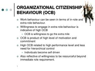 ORGANIZATIONAL CITIZENSHIP BEHAVIOUR (OCB)