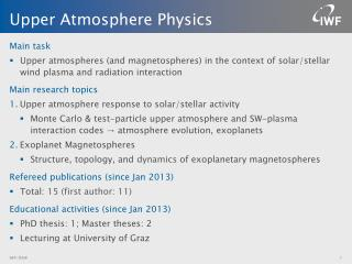 Upper Atmosphere Physics