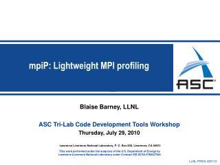 MpiP: Lightweight MPI profiling
