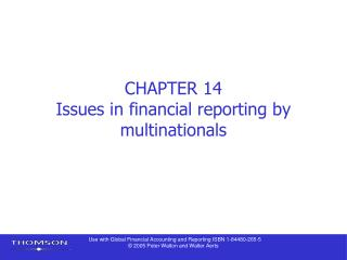 CHAPTER 14 Issues in financial reporting by multinationals