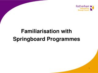 Familiarisation with  Springboard Programmes