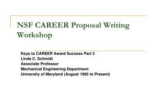 NSF CAREER Proposal Writing Workshop