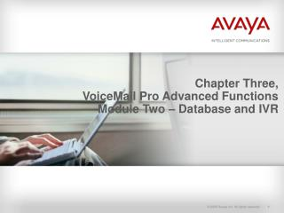 Chapter Three, VoiceMail Pro Advanced Functions Module Two – Database and IVR