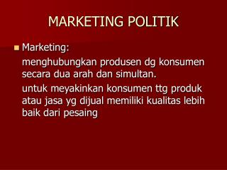 MARKETING POLITIK