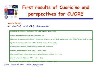 Maura Pavan  on behalf of  the CUORE collaboration: