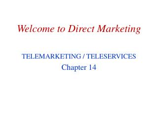 Welcome to Direct Marketing