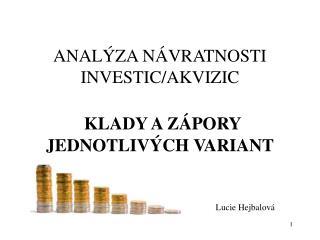 ANALÝZA NÁVRATNOSTI INVESTIC/AKVIZIC KLADY A ZÁPORY JEDNOTLIVÝCH VARIANT