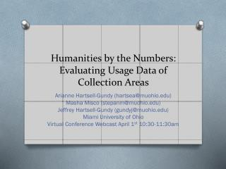 Humanities by the Numbers: Evaluating Usage Data of Collection Areas