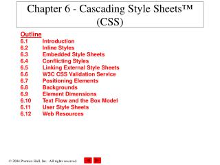Chapter 6 -  Cascading Style Sheets� (CSS)