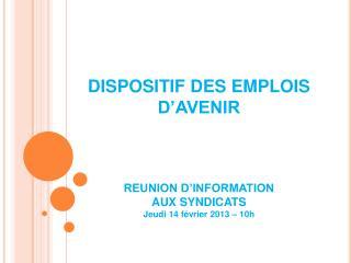 DISPOSITIF DES EMPLOIS D'AVENIR REUNION D'INFORMATION  AUX SYNDICATS  Jeudi 14 février 2013 – 10h