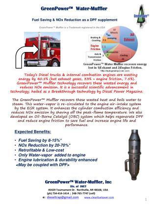 GreenPower™ Water-Muffler, Inc  Div. of  IMET 45429 Tournament Dr.  Northville, MI 48168, USA
