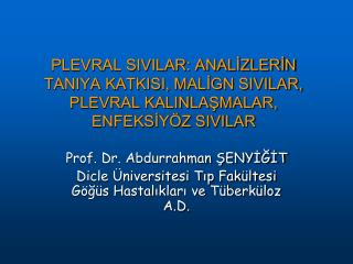 Prof. Dr. Abdurrahman ŞENYİĞİT