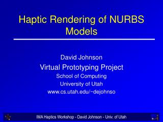 Haptic Rendering of NURBS Models