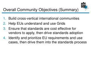 Overall Community Objectives (Summary)
