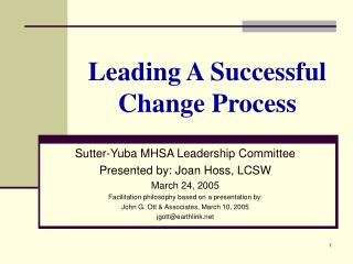 Leading A Successful Change Process