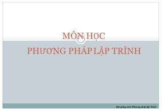 M�N H?C PH??NG PH�P L?P TR�NH