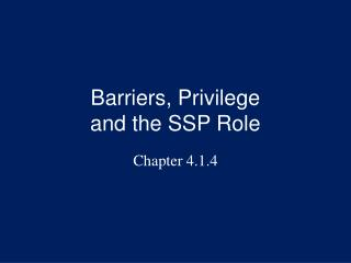 Barriers, Privilege and the SSP Role