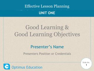 Good Learning &  G ood  L earning  O bjectives  Presenter's Name