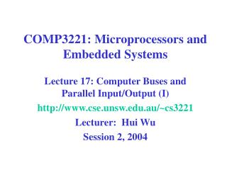 COMP3221: Microprocessors and Embedded Systems
