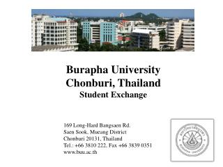 Burapha University Chonburi, Thailand Student Exchange