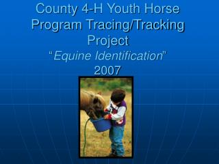 "County 4-H Youth Horse Program Tracing/Tracking Project "" Equine Identification "" 2007"