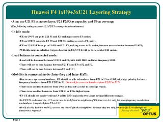 Huawei F4 1xU9+3xU21 Layering Strategy
