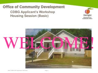 CDBG Applicant's Workshop Housing Session (Basic)