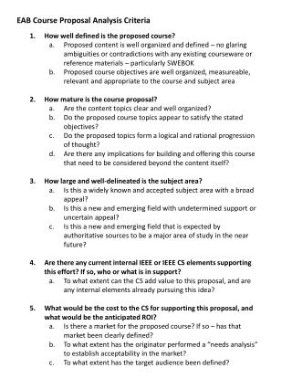 EAB Course Proposal Analysis Criteria