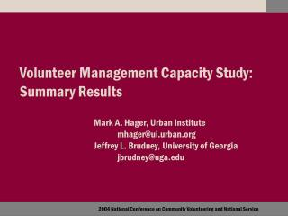 Volunteer Management Capacity Study:  Summary Results