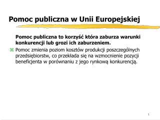 Pomoc publiczna w Unii Europejskiej