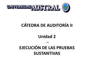 CÁTEDRA DE AUDITORÍA II Unidad 2  –  EJECUCIÓN DE LAS PRUEBAS SUSTANTIVAS