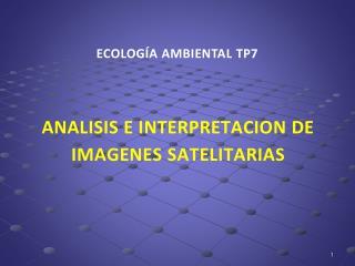 ANALISIS E INTERPRETACION DE IMAGENES SATELITARIAS